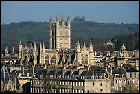 Bath Abbey rising over 18th century buildings. Bath, Somerset, England, United Kingdom ( color)