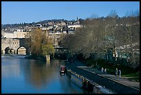 Pulteney Bridge, Avon River, Houseboats, and quay. Bath, Somerset, England, United Kingdom (color)