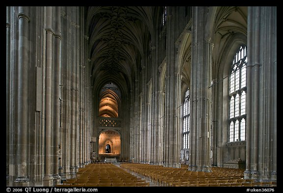 Nave, built in the Perpendicular style, Canterbury Cathedral. Canterbury,  Kent, England, United Kingdom (color)