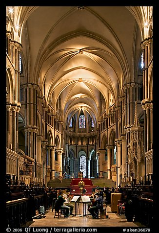 String quartet rehearsing in the quire of Canterbury Cathedral. Canterbury,  Kent, England, United Kingdom (color)
