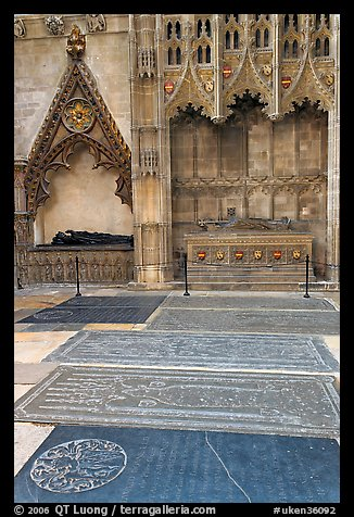 Graves, Canterbury Cathedral. Canterbury,  Kent, England, United Kingdom (color)