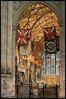 Warrior's Chapel with colours of the Princess of Wales Royal Regiment, Canterbury Cathedral. Canterbury,  Kent, England, United Kingdom