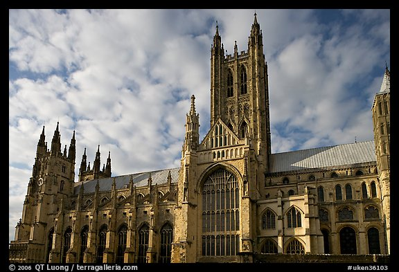 Central tower and south transept, Canterbury Cathedral. Canterbury,  Kent, England, United Kingdom (color)