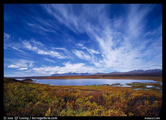 Clouds, tundra in fall color, and lake along Denali Highway. Alaska, USA (color)