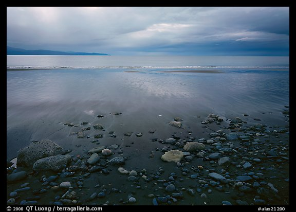 Pebbles, beach, and Katchemak Bay. Homer, Alaska, USA (color)