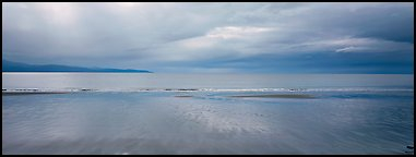 Seascape with wet beach and clouds. Homer, Alaska, USA (Panoramic color)
