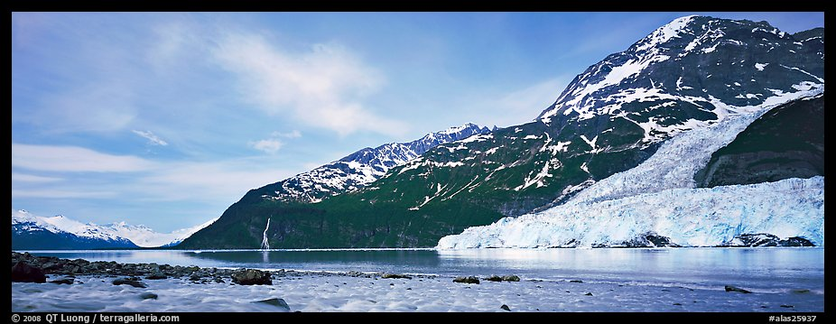 Landscape with tidewater glacier and waterfall. Prince William Sound, Alaska, USA (color)