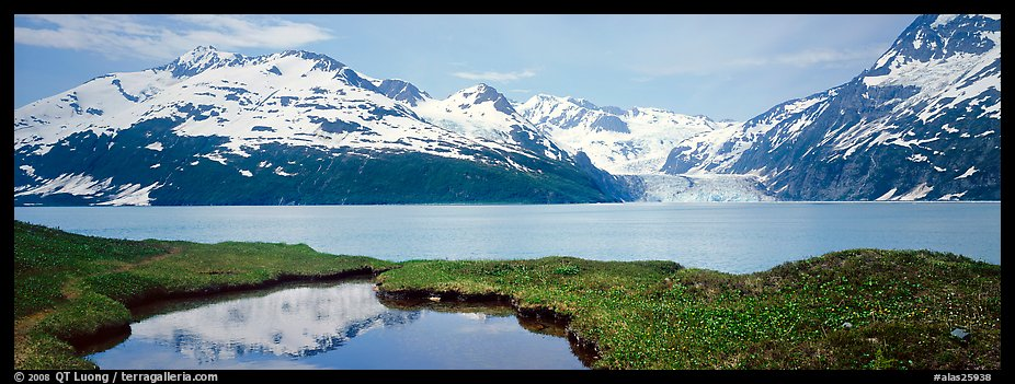 Fjord with snowy mountains. Prince William Sound, Alaska, USA (color)