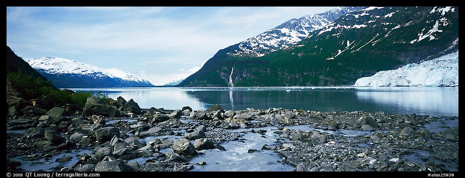 Fjord seascape with tidewater glacier. Prince William Sound, Alaska, USA (color)