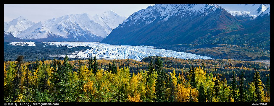 Autumn landscape with glacier. Alaska, USA (color)