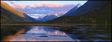 Kenai peninsula landscape with lake and reflections. Alaska, USA (Panoramic color)