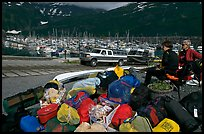 Group gear for a sea kayaking trip. Whittier, Alaska, USA (color)