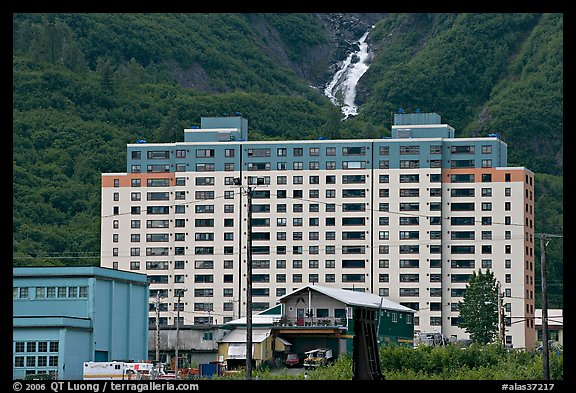 Begich towers and Horsetail falls. Whittier, Alaska, USA