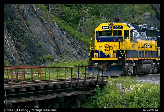 Alaska railroad locomotive. Whittier, Alaska, USA (color)