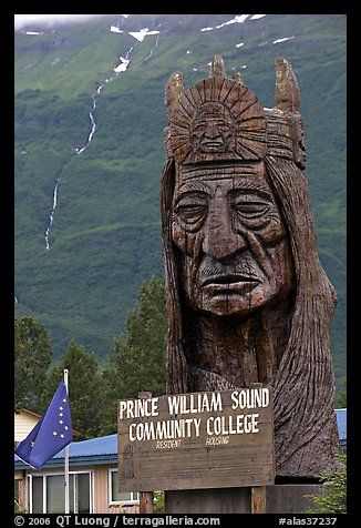 Peter Toth huge wooden carving of a Native American. Alaska, USA (color)