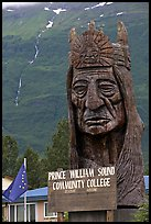 Peter Toth huge wooden carving of a Native American. Alaska, USA ( color)