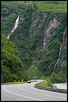 Richardson Highway and waterfalls, Keystone Canyon. Alaska, USA (color)