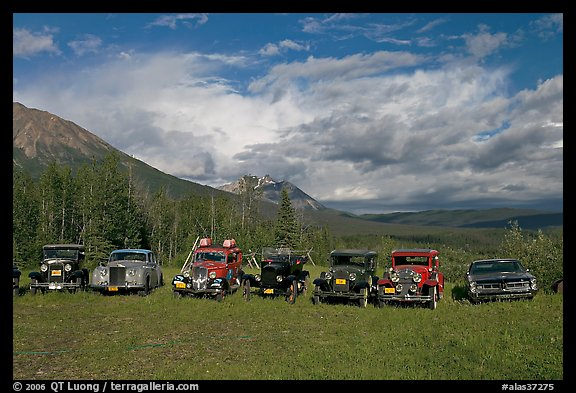 Row of classic cars lined up in meadow. McCarthy, Alaska, USA (color)