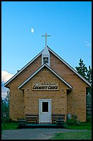 Community church and moon. McCarthy, Alaska, USA (color)