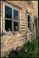 Windows and doors of old wooden building. McCarthy, Alaska, USA