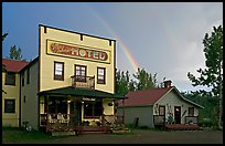 Ma Johnson  hotel and rainbow. McCarthy, Alaska, USA ( color)