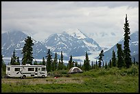 RV, tent, with glacier and mountains in background. Alaska, USA ( color)