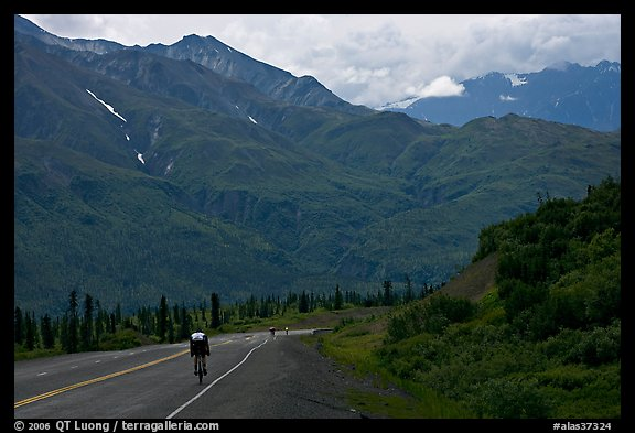 Road cycling, Glenn Highway. Alaska, USA (color)