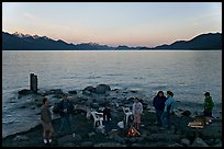 Families pickniking with fire, Resurrection Bay, sunset. Seward, Alaska, USA ( color)