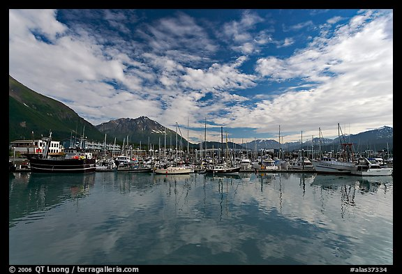 Harbor and reflections. Seward, Alaska, USA (color)