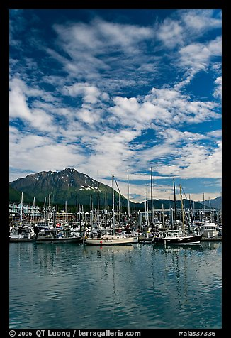 Harbor, mountains and cloud reflections. Seward, Alaska, USA (color)