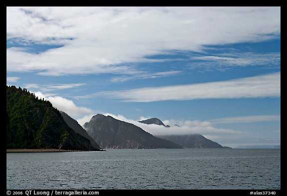 Mountains with low clouds outside Resurrection Bay. Seward, Alaska, USA (color)
