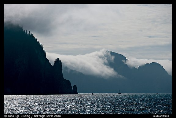 Glistening water, fog, and boats, Resurrection Bay. Seward, Alaska, USA (color)