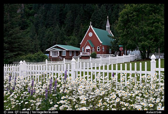 Flowers, white picket fence and church. Seward, Alaska, USA (color)