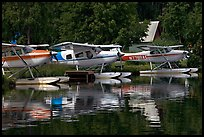 Float planes on Lake Hood, the largest float plane base in the world. Anchorage, Alaska, USA ( color)