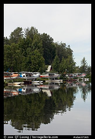 Seaplanes on the shore of Lake Hood, the largest sea plane base in the world. Anchorage, Alaska, USA (color)