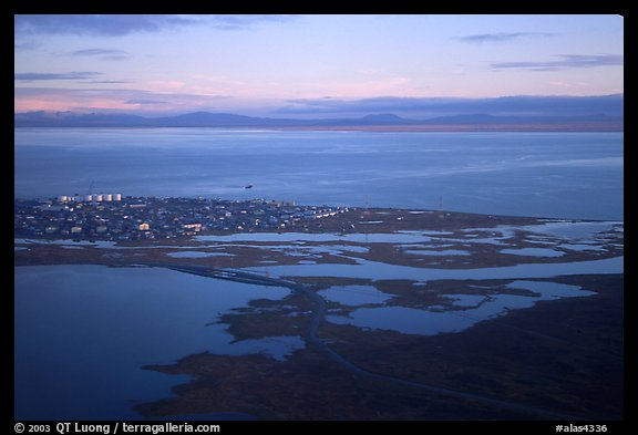 Aerial view of Kotzebue. Kotzebue, North Western Alaska, USA (color)