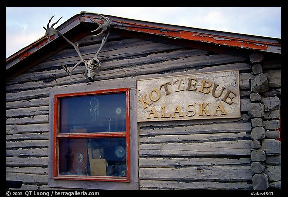 Log cabin with caribou antlers. Kotzebue, North Western Alaska, USA (color)