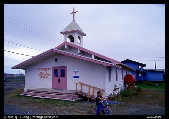 Church Saint George in the Arctic. Kotzebue, North Western Alaska, USA (color)