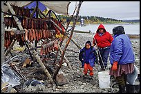 Inupiaq Eskimo family with stand of dried fish, Ambler. North Western Alaska, USA ( color)