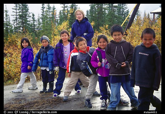Inupiaq Eskimo kids and teacher, Kiana. North Western Alaska, USA (color)