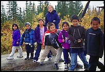 Inupiaq Eskimo kids and teacher, Kiana. North Western Alaska, USA ( color)