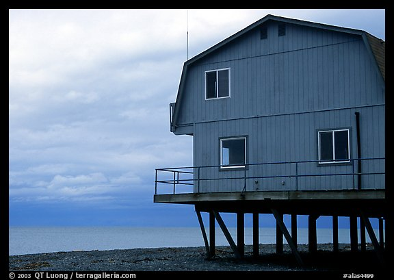 Watefront house on stilts on the Spit. Homer, Alaska, USA