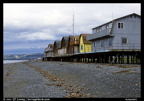 Beach and stilt houses on the Spit. Homer, Alaska, USA (color)