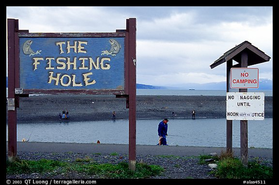 Fishing Hole signs. Homer, Alaska, USA (color)