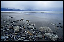 Sandy beach, rocks, and stormy skies on the Bay. Homer, Alaska, USA