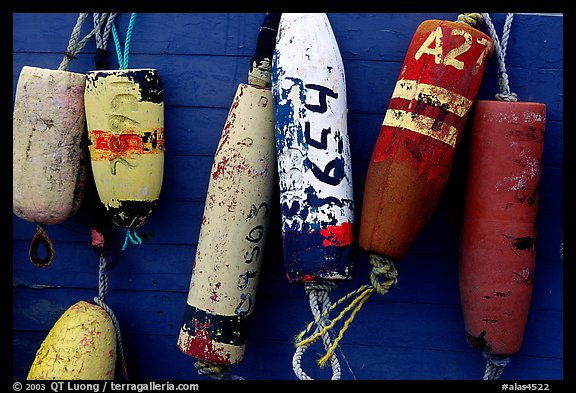 Buoys hanging on the side of a boat. Homer, Alaska, USA (color)