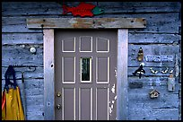 Wooden cabin door. Ninilchik, Alaska, USA ( color)