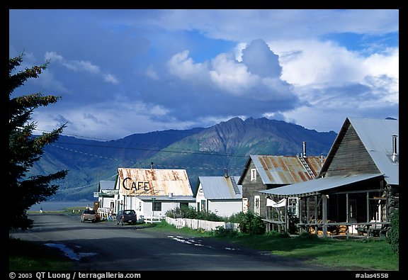 Village main street and Turnaigan Arm. Hope,  Alaska, USA (color)