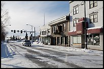 Downtown street in winter. Fairbanks, Alaska, USA ( color)