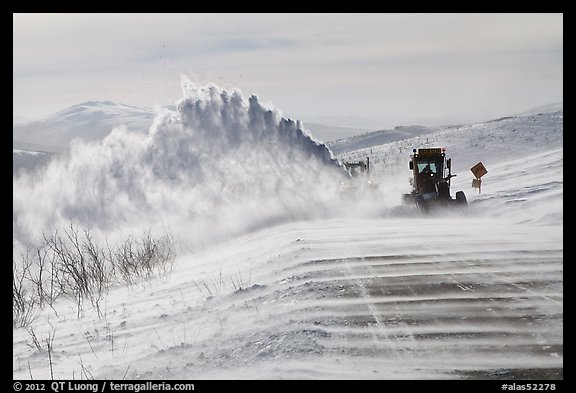 Snowplows and spindrift, Twelve Mile Summmit. Alaska, USA (color)